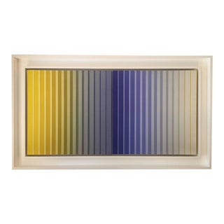 Framed Acrylic on Canvas Striped Dyptych 1976 by Dan Gilhooley