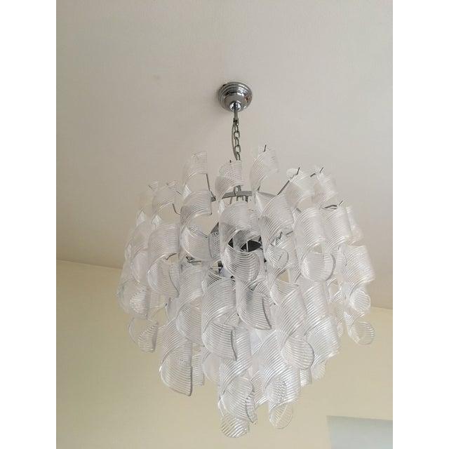 "Murano Mazzega Style Murano Glass ""Spirale"" Sputnik Chandelier For Sale - Image 4 of 11"