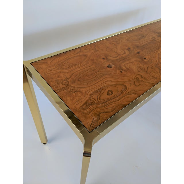 Brass & Burlwood Console Table For Sale - Image 10 of 13