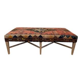 Vintage Persian Rug Ottoman Table For Sale