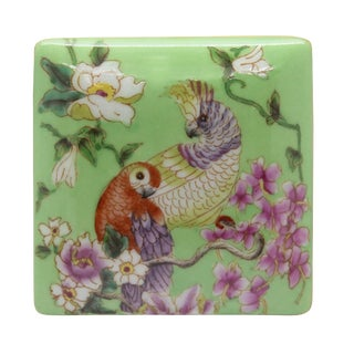 Contemporary Parrot and Flower Painting Square Porcelain Box - Jewelry Box For Sale