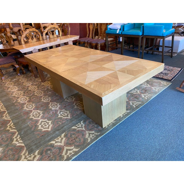 Custom Modern Oak Inlay Dining Table For Sale - Image 10 of 13