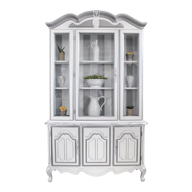 1960s Hollywood Regency Hand Painted China Cabinet For Sale