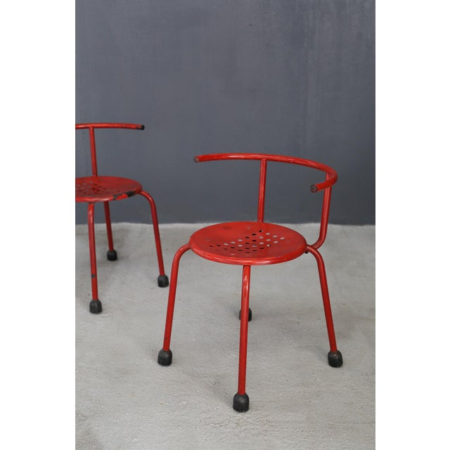 Modern Ettore Sottsass Outdoor Chairs Steel Armchair For Sale - Image 3 of 5