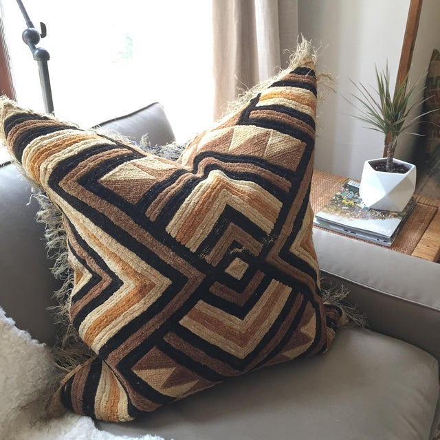 "African ""Well-Traveled"" Kuba Cloth Pillow with Velvet Back For Sale - Image 3 of 5"