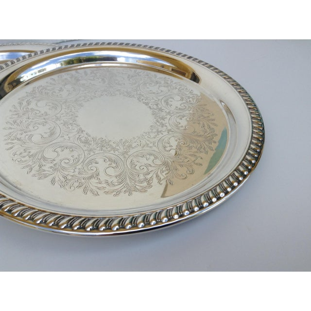 Large Silver Plate Round Platter Trays -Set of 3 - Image 7 of 11
