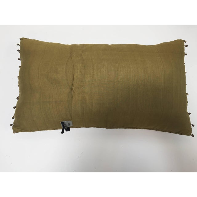 Mid Century Silk Throw Pillow Embroidered With Raised Metallic Embroidery For Sale - Image 4 of 9
