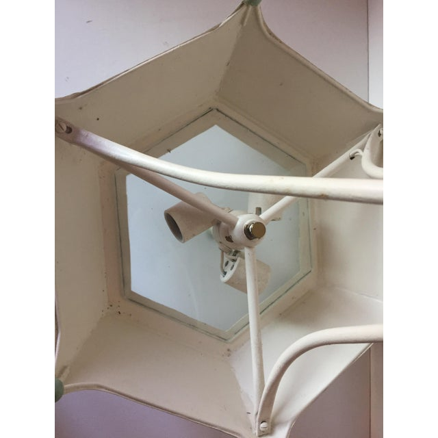 White Vintage Italian Tole Painted Chandelier For Sale - Image 8 of 10