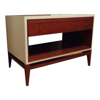 Mid-Century Modern Henredon Furniture Barbara Barry Faux Parchment &Walnut End Table For Sale