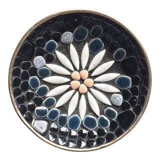 Mid -Century Small Mosaic Flower Plate For Sale