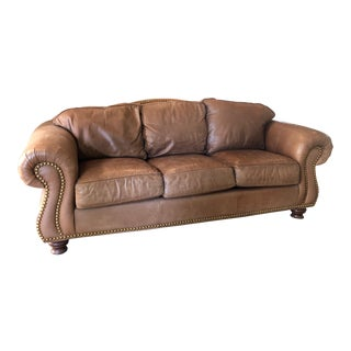 Drexel Heritage Rustic Brown Leather Couch With Brass Nailhead Trim For Sale