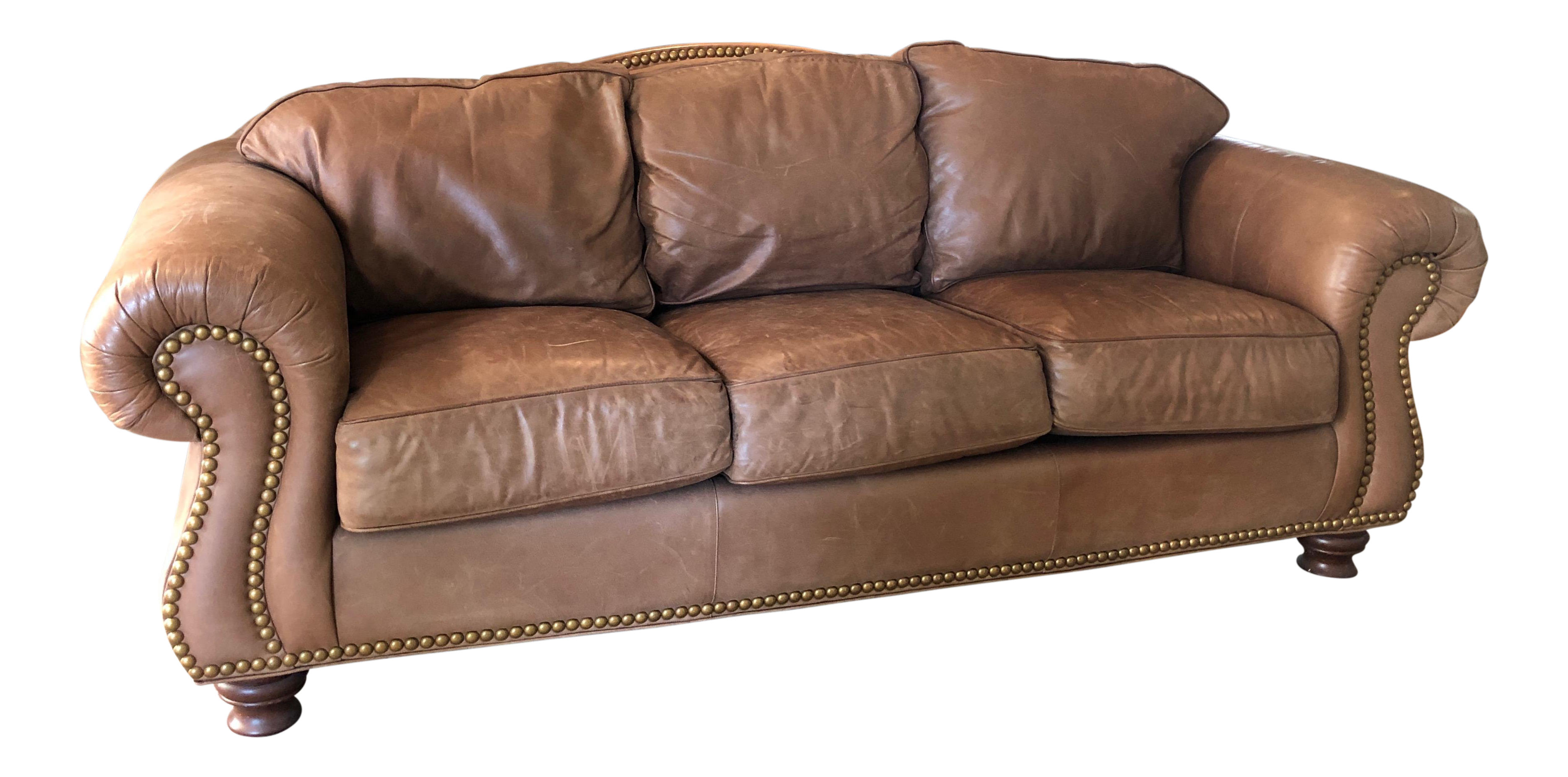 Superbe Drexel Heritage Rustic Brown Leather Couch With Brass Nailhead Trim