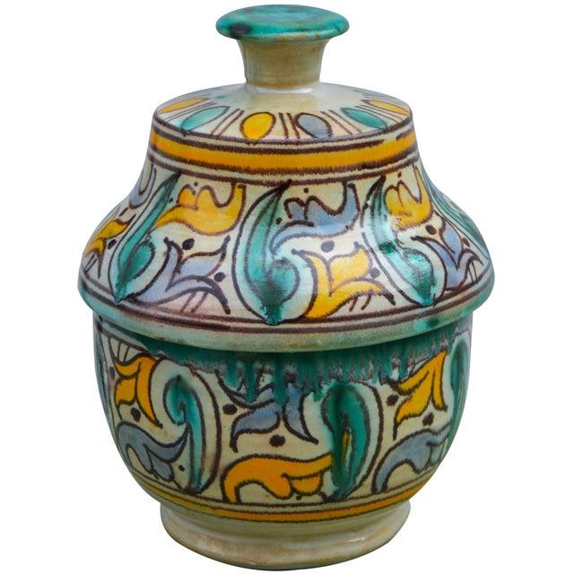 Traditional Antique Moorish Ceramic Box For Sale - Image 3 of 11