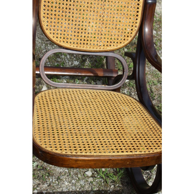 Vintage Rattan Rocking Chair For Sale In Detroit - Image 6 of 9