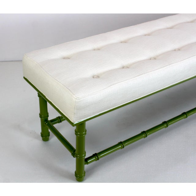 Mid Century Faux Bamboo Green Bench For Sale - Image 4 of 11