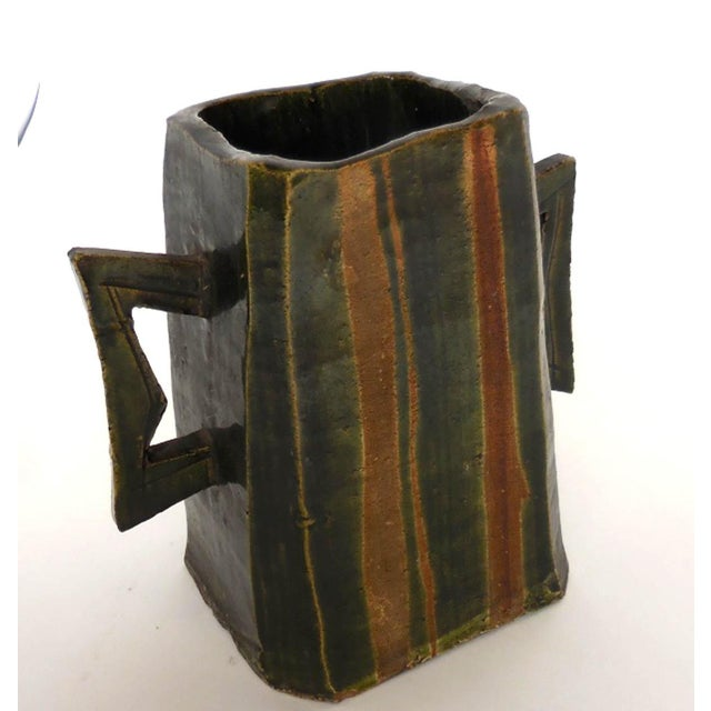 Japanese Pottery Vessel With Two Large Handles in Matte Earth Colors For Sale - Image 12 of 12