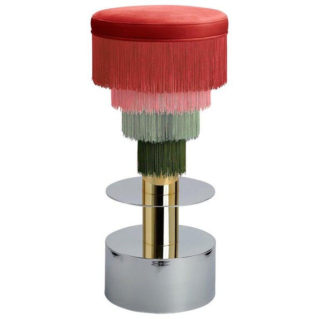 Deja Vu Red and Green Stool With 24-Karat Gold-Plated Metal and Velvet Fringes For Sale In Miami - Image 6 of 7