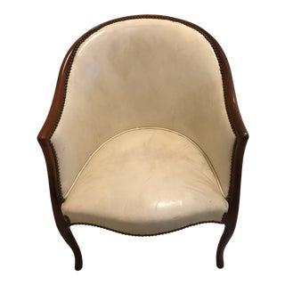Art Deco French Mahogany & White Leather Brass Tacks Club/Rub Chair