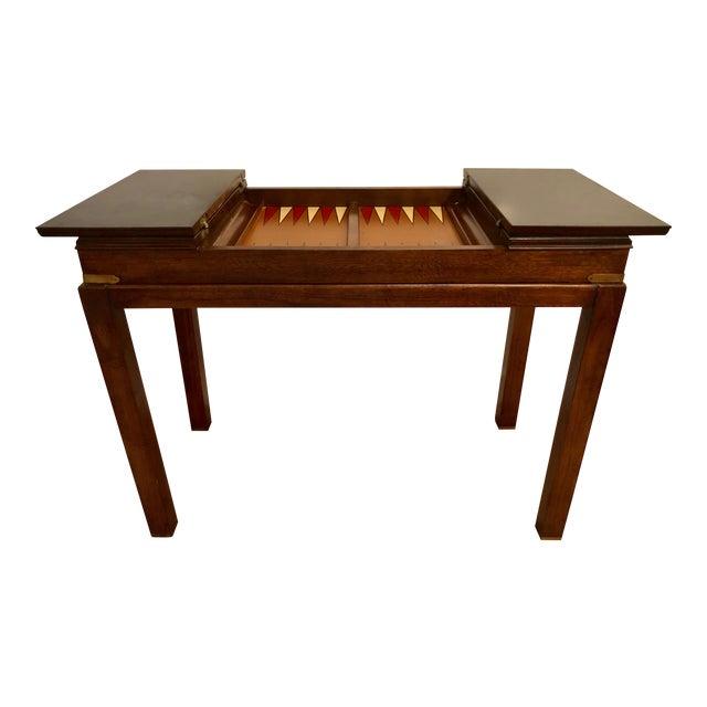 Lane Mid-Century Backgammon Campaign Console Table For Sale