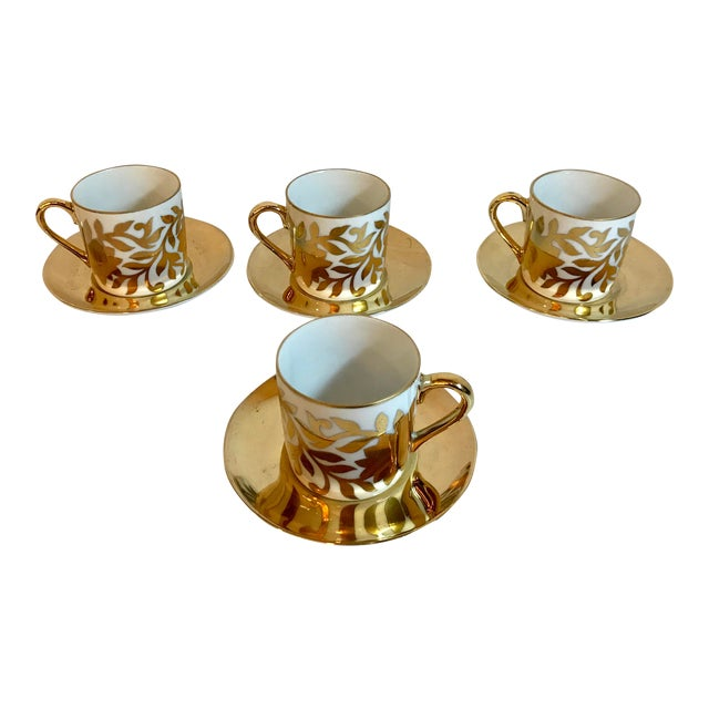 Vintage Gold and White Fitz and Floyd Demitasse Set - Set of 4 For Sale