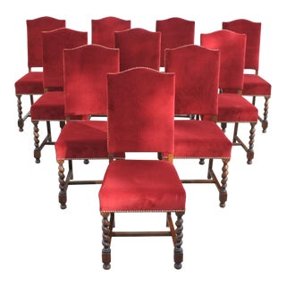 1880s Vintage Louis XIII Style Barley Twist Solid Walnut Dining Chairs - Set of 10 For Sale