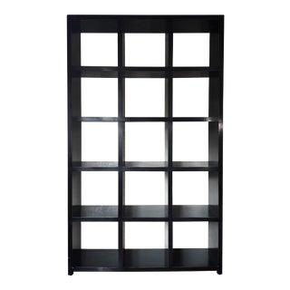 Asian Modern Four Hands Black Lacquered Elm Bookcase For Sale