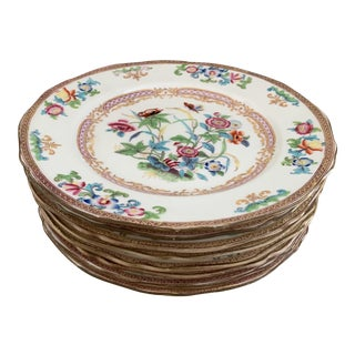 Antique English Minton Chinoiserie Plates- Set of 8 For Sale