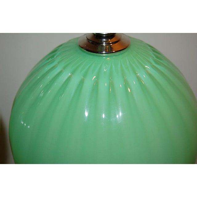 Joe Cariati Joe Cariati Hand Blown Glass Ball Table Lamps Green For Sale - Image 4 of 10