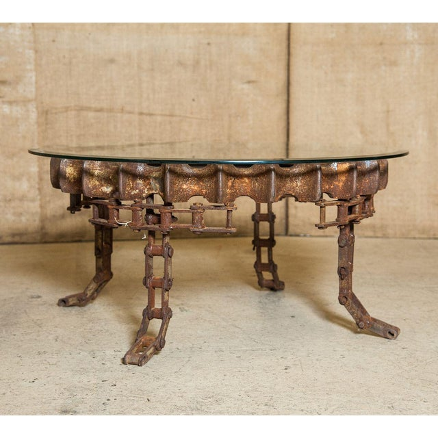 Brutalist Round Industrial Gear Coffee Table With Glass Top For Sale - Image 3 of 7