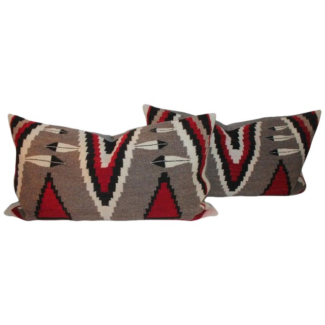 Navajo Indian Weaving Bolster Pillows - a Pair For Sale