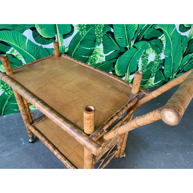 Collapsible Tiger Bamboo Bar Cart For Sale - Image 9 of 11