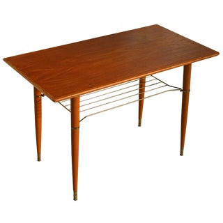 Swedish Mid Century Modern Teak Table With Brass Shelf For Sale