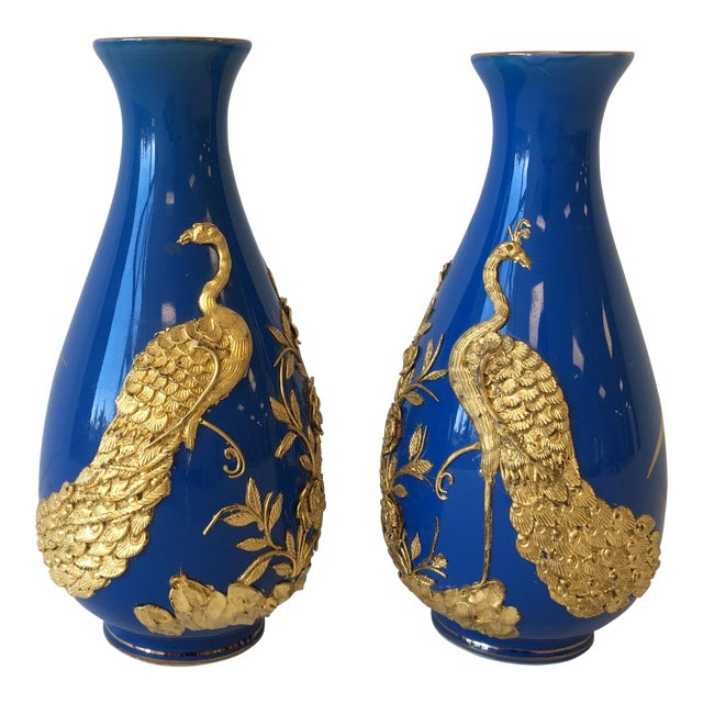 Blue and 18k Gold Vases with Peacock Design - A Pair - Image 1 of 8