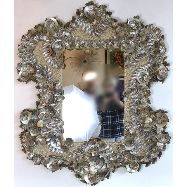 Palm Beach Chic Mother-Of-Pearl Shell Encrusted Mirror For Sale - Image 13 of 13