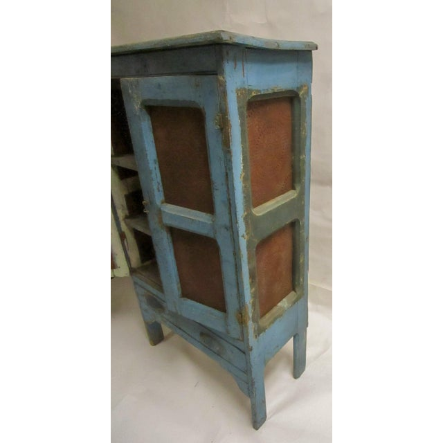 19th Century American Primitive Southern Pie Safe With Distressed Blue Paint For Sale - Image 10 of 13