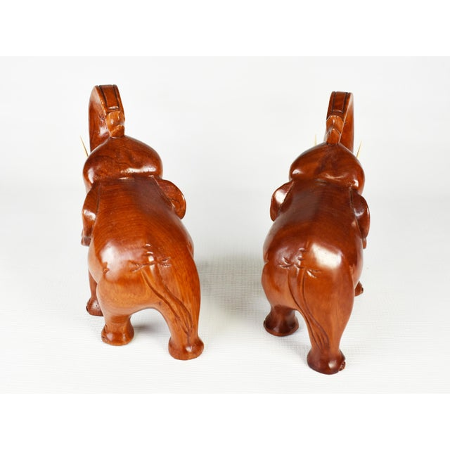 Vintage Hand Carved Trunk Up Lucky Elephant Figurines - a Pair For Sale - Image 4 of 9