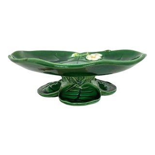 George Jones Majolica Water Lily Pad Footed Comport, Lush Greens, English, 1877 For Sale