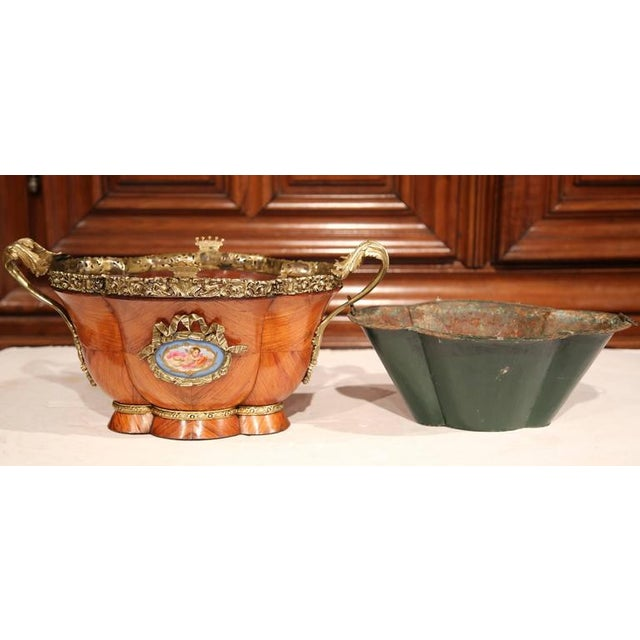 Early 19th Century French Tulipwood & Bronze Jardiniere For Sale - Image 9 of 10