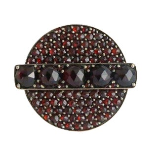 Victorian 10k Gold Faceted Pave Garnet Ring For Sale