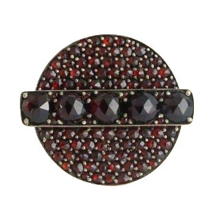 Victorian 10k Gold Faceted Pave Garnet Ring For Sale