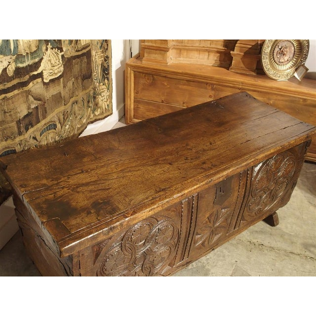Large Carved Oak Plank Trunk From the Basque Country, Circa 1650 For Sale - Image 10 of 13