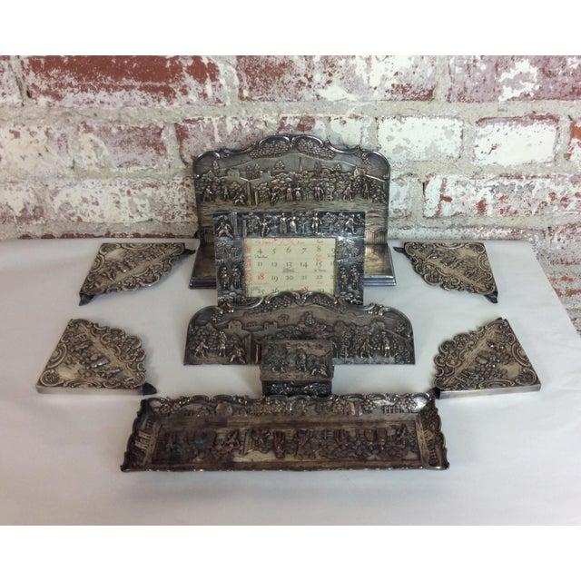 Antique Silver Plated Calendar Desk Set - 9 Pieces For Sale - Image 4 of 10