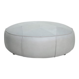 Genuine Round Leather Ottoman/Coffee Table For Sale