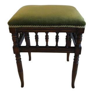 Antique Green Velvet Top Spindle Stool For Sale