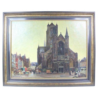 Cityscape Oil Painting by Alfred Martin For Sale