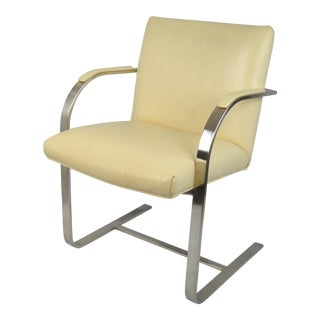 Brno-Style Flat Bar Leather & Brushed Steel Chair For Sale