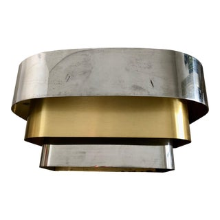 1980s Art Deco Multi-Metal-Banded Light Sconce For Sale