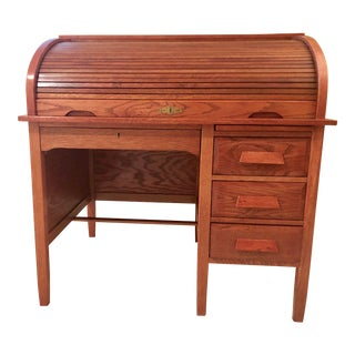 Antique Traditional Imperial Desk Co. Solid Oak C-Curve Tambour Roll Top Desk For Sale