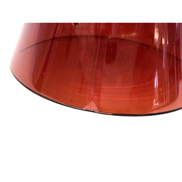 Italian Ruby Red Murano Glass and Brass Table Lamps by Donghia - a Pair For Sale - Image 12 of 13