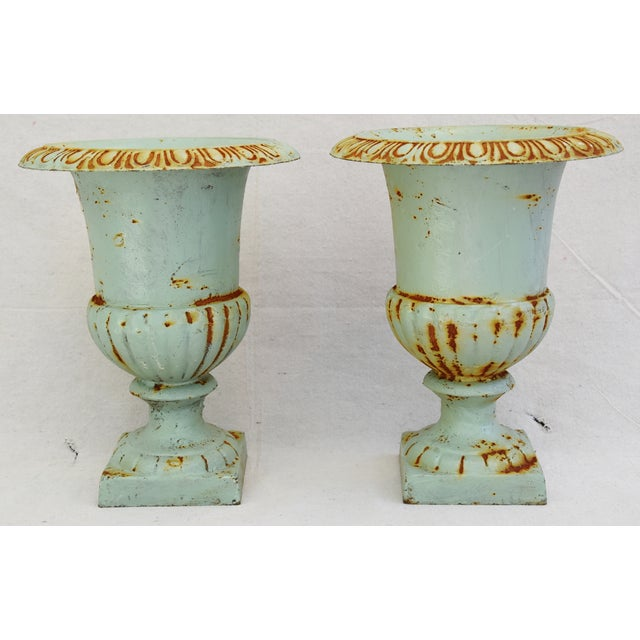 Cottage Vintage Teal/Blue Cast Iron Urn Planters - Pair For Sale - Image 3 of 11